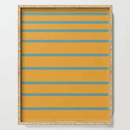 Variable Stripes Minimalist Mustard Orange and Turquoise Blue Serving Tray