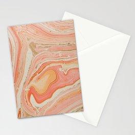 Orange Liquid Marble Stationery Cards