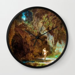 Nymph In The Bath - Carl Spitzweg Wall Clock