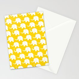 Elephant Parade on Yellow Stationery Cards