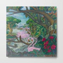 'Flamencos De Celestún De Yucatán' landscape painting by Alfonso Peña Metal Print