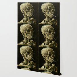 Head of a Skeleton with a Burning Cigarette Wallpaper