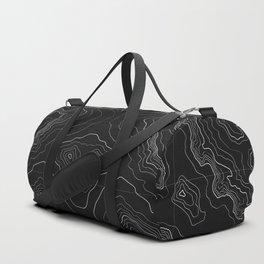 Black topography map Duffle Bag