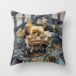Detail of the Royal Coat of Arms on Buckingham Palace Gates London England Throw Pillow