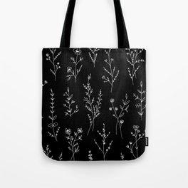 New Black Wildflowers Tote Bag