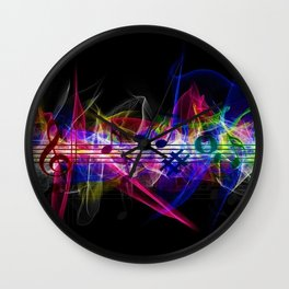 Colorful musical notes and scales artwork Wall Clock