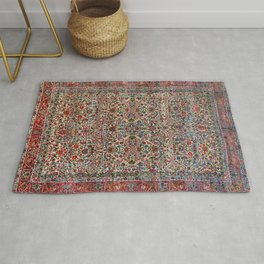 South Persia 19th Century Authentic Colorful Red Pink Blue Vintage Patterns Rug