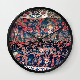 Bijar Vagireh Kurdish Persian Rug Sampler Wall Clock