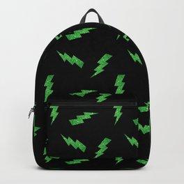 Green Glitter Lightning Bolts in Black Backpack