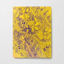 Wild Things Yellow and Blue Metal Print