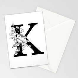 K botanical monogram. Letter initial with peonies Stationery Cards