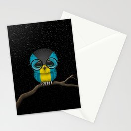 Baby Owl with Glasses and Bahamas Flag Stationery Cards