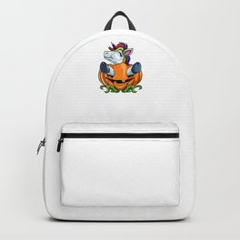 Unicorn Pumpkin, It's Show Time Funny Halloween Horror Scary Backpack