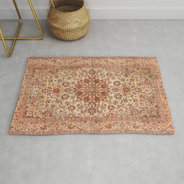 Persia Isfahan 19th Century Authentic Colorful Muted Cream Blush Tan Vintage Patterns Rug