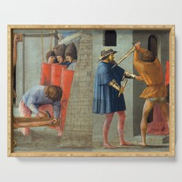 Masaccio - The Crucifixion of Saint Peter and the Decapitation of Saint John the Baptist Serving Tray