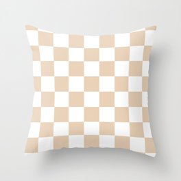 Checkered - White and Pastel Brown Throw Pillow
