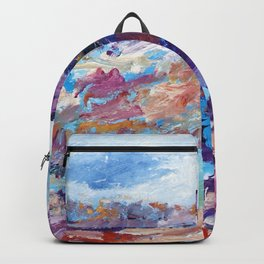 Navy Blue Abstract Landscape Natural Life. Backpack