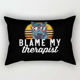 Blame My Therapist Cat With Sunglasses Cat Lovers Rectangular Pillow