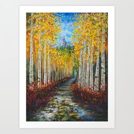 Nelly Creek painting of Uncompahgre National Forest Art Print
