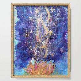 Lotus Flower Galaxy Serving Tray