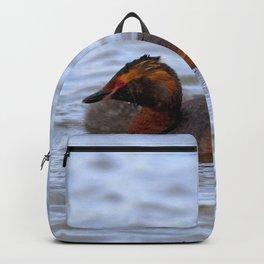 Watercolor Bird, Horned Grebe 05, Lake Myvatn, Iceland Backpack