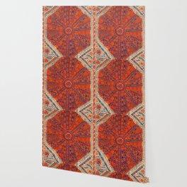 Orange Wildflower Sunshine II // 18th Century Colorful Rusty Red Bright Blue Metallic Happy Pattern Wallpaper