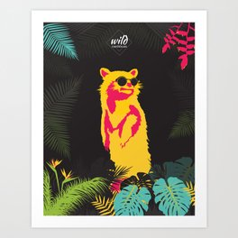 brightly colored raccoon with glasses Art Print