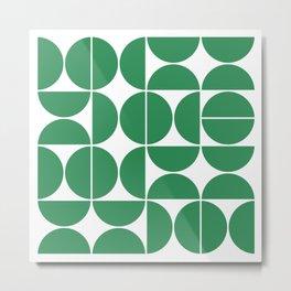 Mid Century Modern Geometric 04 Green Metal Print
