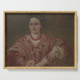 Walter Shirlaw - Portrait of Dorothea A Dreier (1870-1923) Serving Tray
