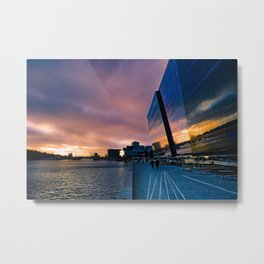 Sunset at the Black Diamond in Copenhagen Metal Print