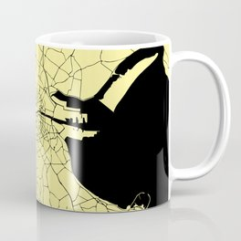 Black and Yellow Dublin Street Map Coffee Mug