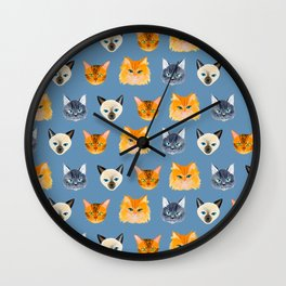 Cats Blue Wall Clock