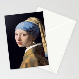 Vermeer, Girl with a Pearl Earring,Meisje met de parel,La joven de la perla Stationery Cards