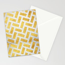 Brick Pattern 1 in Gold and Silver Stationery Cards