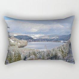 first snow on autumn leaves Rectangular Pillow