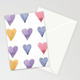 Watercolor Hearts Stationery Cards