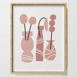 Rania - element, plant, earth tone, neutral, minimal, artist, flower, vase, warm tones, dorm art Serving Tray