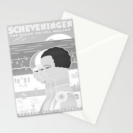 retro monochrome Scheveningen Stationery Cards