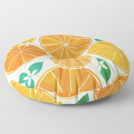 Orange Slices With Blossoms Floor Pillow