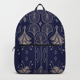 Lily Lake - Retro Floral Pattern Navy Blue Backpack