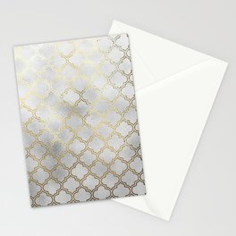 Metallic silver and gold quatrefoil pattern Stationery Cards