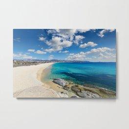 Agios Prokopios beach in Naxos island, Greece Metal Print