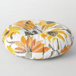Sunflower Watercolor – Yellow & Black Palette Floor Pillow