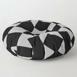 Minimal Geometric Pattern - Black and White Floor Pillow