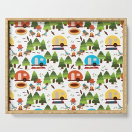 Campsite with caravans, campfire, camping chairs, trees, carpet, birds. Camping in the forest. Campground. RV. Camp night. Big scale. Serving Tray