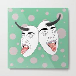 Horny Masks Metal Print