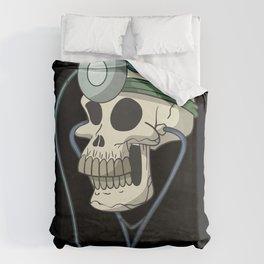 Skull with doctor head lamp Duvet Cover