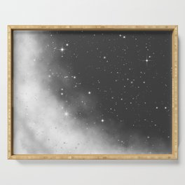 Monochrome Black and White Galaxy Pattern Serving Tray