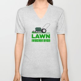 Lawn Enforcement Officer With Mover Funny Gardening Distressed Unisex V-Neck