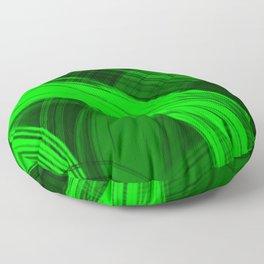 Bright pillars of green light from flowing lines on dark fabric. Floor Pillow